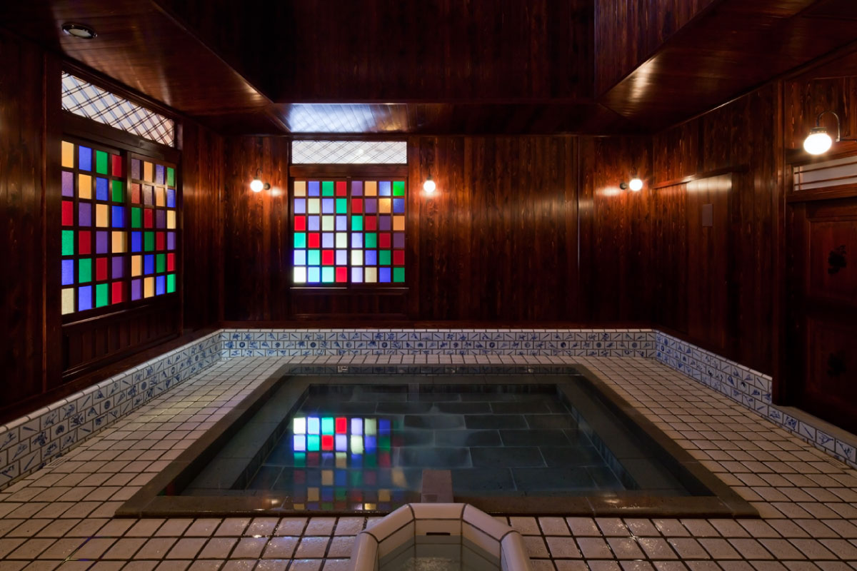 Ko-soyu Public Bathhouse featuring exquisite bathrooms with stained glass and