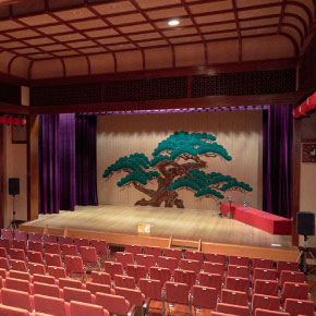 A theatre which is the place to see Geisha dances and sings at the stage on weekends.